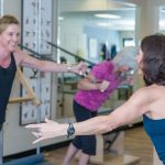 Kerry Mathern and clients working out
